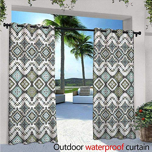 Ethnic Outdoor- Free Standing Outdoor Privacy Curtain W84