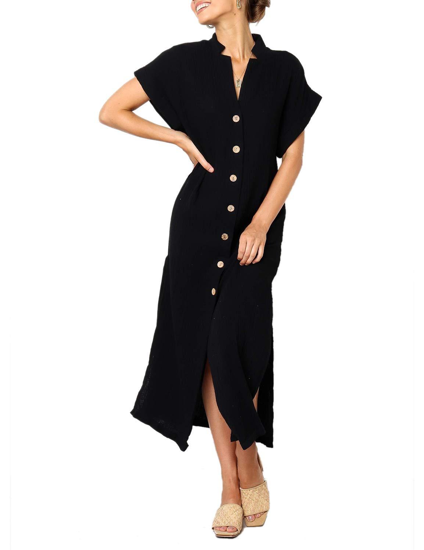Blooming Jelly Women's Solid Button Dress Short Sleeve High Split Longline Loose Summer Midi Dress Black