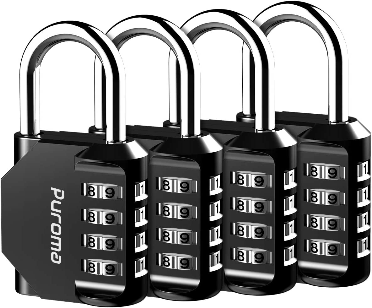 Puroma 4 Pack Combination Lock 4 Digit Padlock for School Gym Locker, Sports Locker, Fence, Toolbox, Case, Hasp Storage (Black)