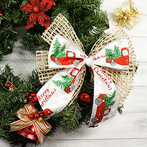 Merry Christmas Wired Ribbon By the Roll for Wreaths or Bows 2.5 x 10 YARD ROLL