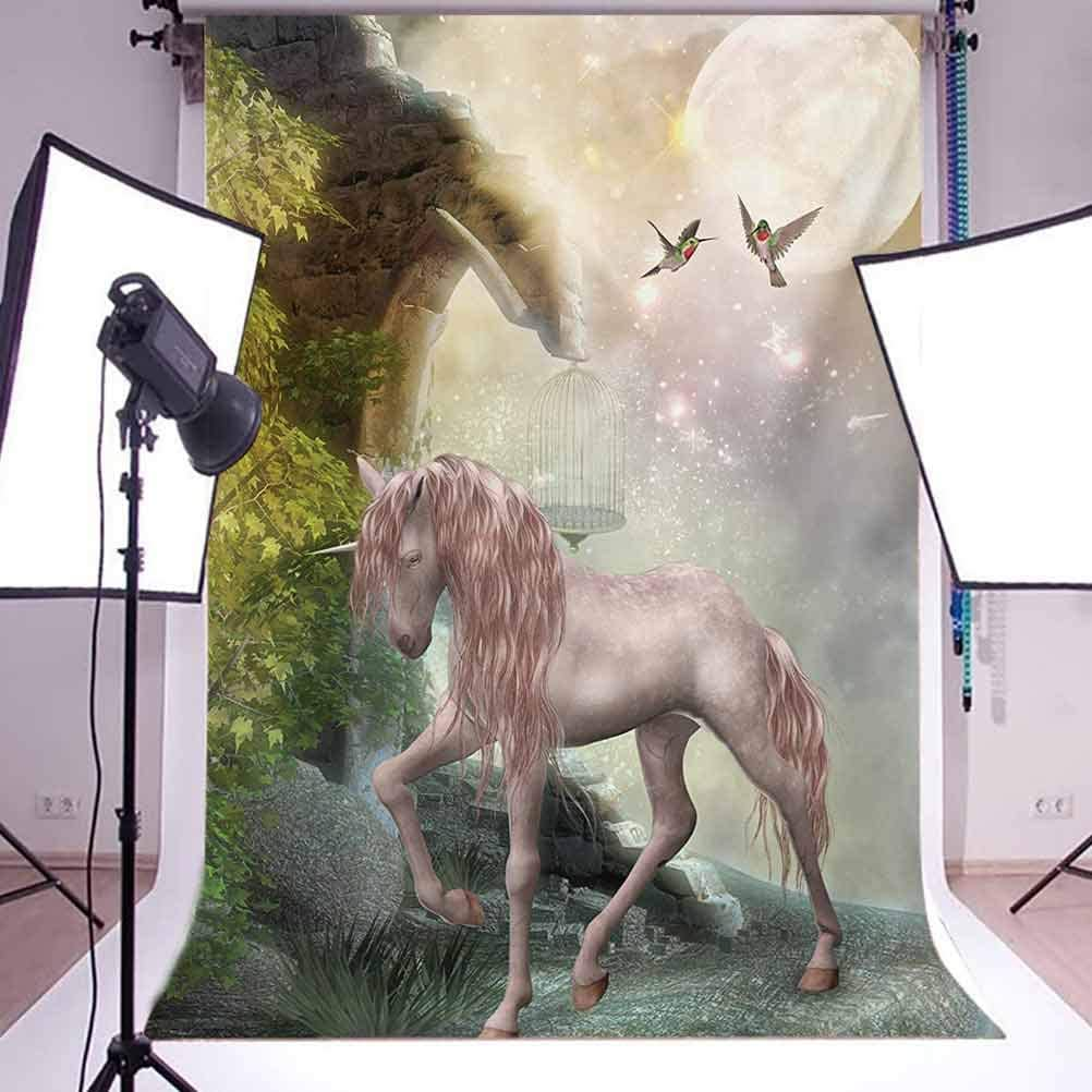 Unicorn Gold Color Leaves Birds Twinkling Stars Moon Mystic Fantasy Fairytale Background for Baby Shower Bridal Wedding Studio Photography Pictures Hummingbirds 6.5x10 FT Photography Backdrop
