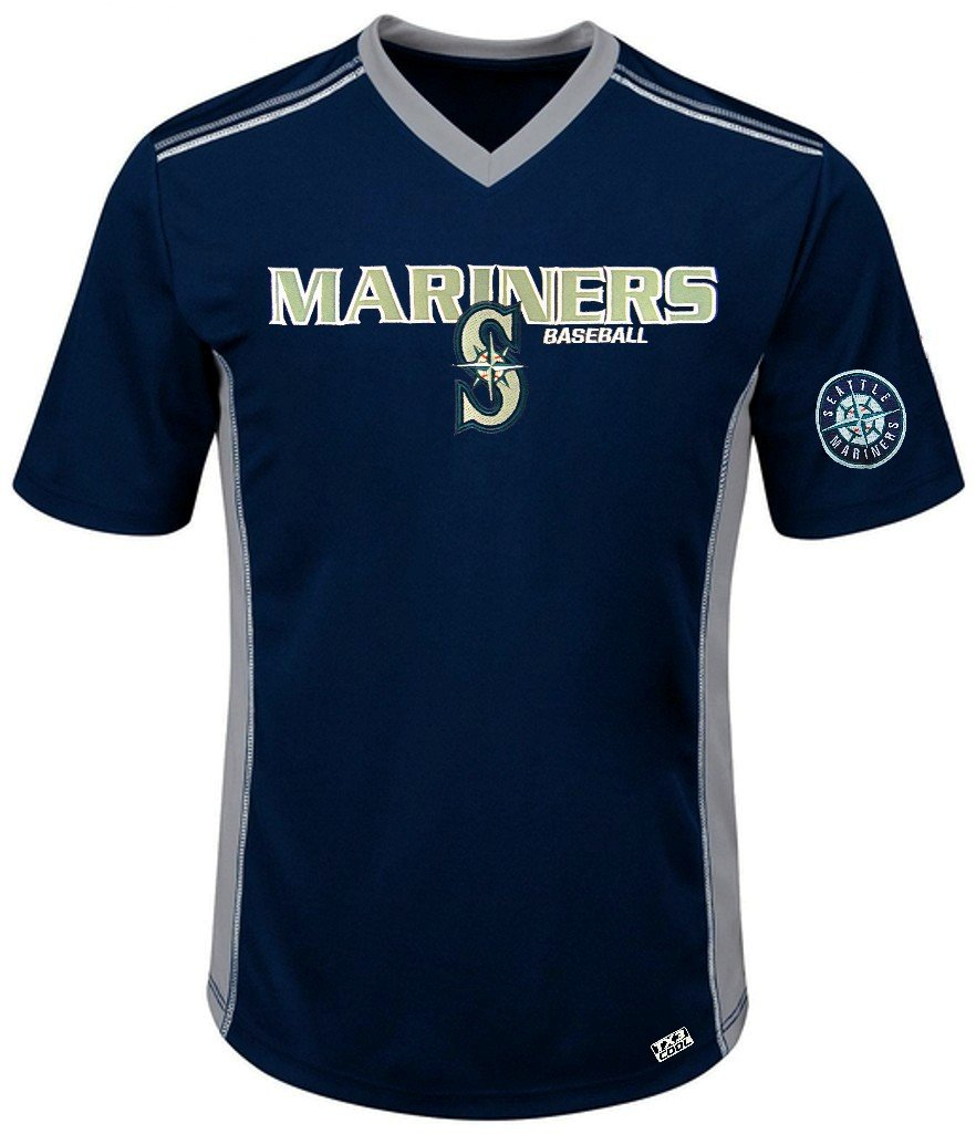 Amazon.com   VF Seattle Mariners MLB Mens Cool Base Performance V Neck  Jersey Navy Blue Big Sizes   Sports   Outdoors bd05bf877851