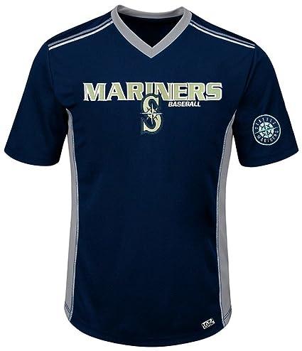 cc6134168 VF Seattle Mariners MLB Mens Cool Base Performance V Neck Jersey Navy Blue  Big Sizes (