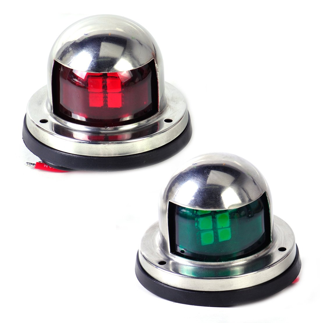 1 Pair 12V LED Bow Navigation Light Red Green Stainless Steel Marine Boat Yacht eastar