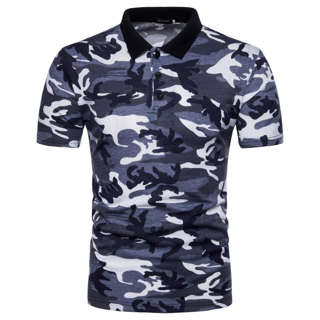 d68182b48021 Top2  FUNIC Clearance Deals ! Men s Polo Shirt Camouflage Print Turn-Down  Collar T-Shirt Top Blouse