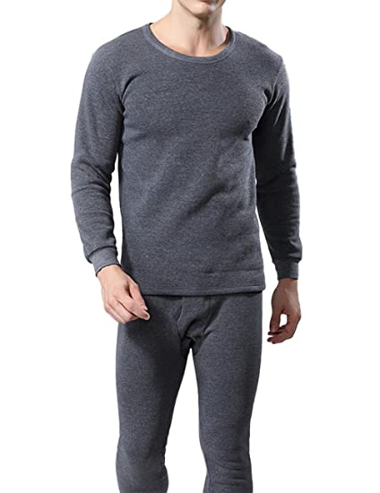Zantec® - Conjunto de ropa interior térmica para hombre, cuello redondo otoño e invierno