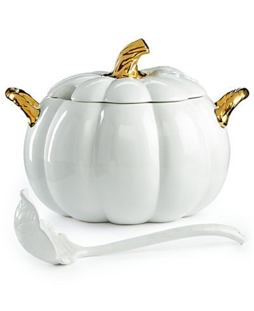 Martha Stewart Collection's Elegant Glossy White and Gold-tone Harvest Pumpkin Soup Tureen With Ladle