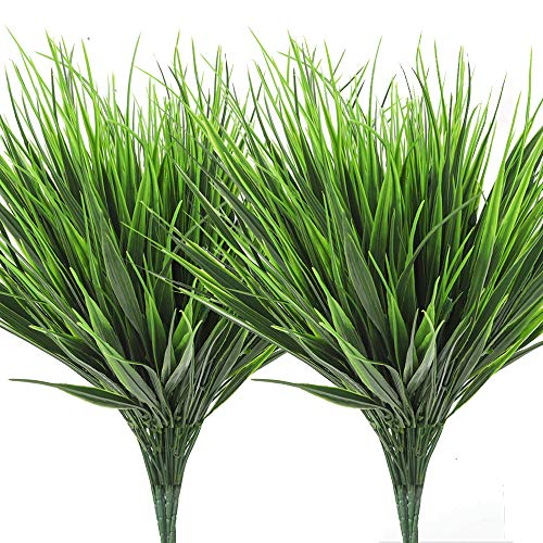 AGEOMET 14pcs Artificial Plant Green Plastic Plant Outdoor UV Plant Artificial Plastic Wheat Grass for Home Garden Window Sill Outdoor Courtyard Office Decoration Birthday Party and Wedding Decoratio