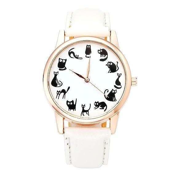 Divertido reloj de pulsera JSDDE de cuarzo con bonitos gatos, con correa de piel sint&eacute