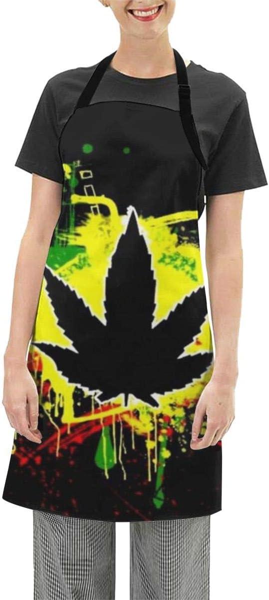 TYHG Delantal impermeable unisex con cuello ajustable negro marihuana hojas cannabis chef camarero anfitriona delantales resistente al agua para jardinería
