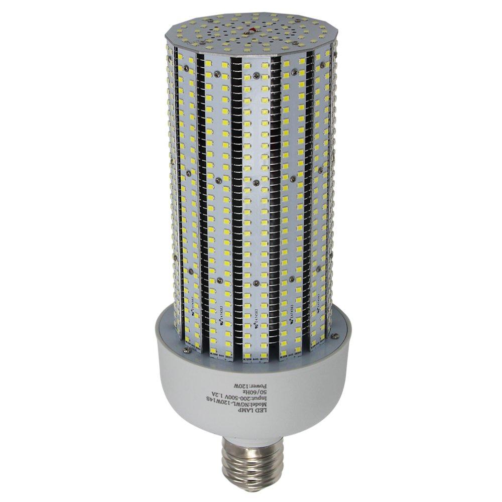 347V LED Corn Cob Bulb 120W, 6000K E39 Mogul Base Corn LED Bulbs 480V Replace 400W Metal Halide Shoebox Parking Lot Retrofit AC200-500V Input
