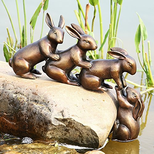 Helping Hand Rabbits Garden Sculpture