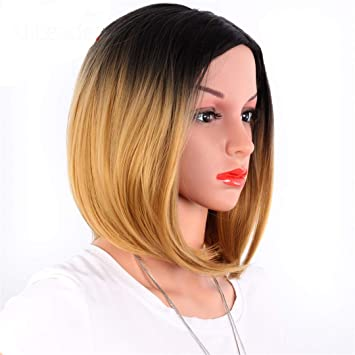 African American Bob Wigs Short Shoulder Length Ombre Blonde Green 8 Colors Straight Synthetic Wigs For