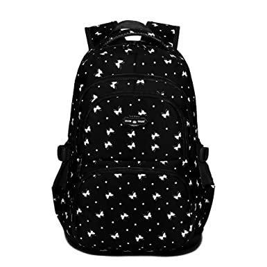 Dog Pawprint Cat Fingerprint Backpack for Elementary or Middle School Girls (Butterfly Black)