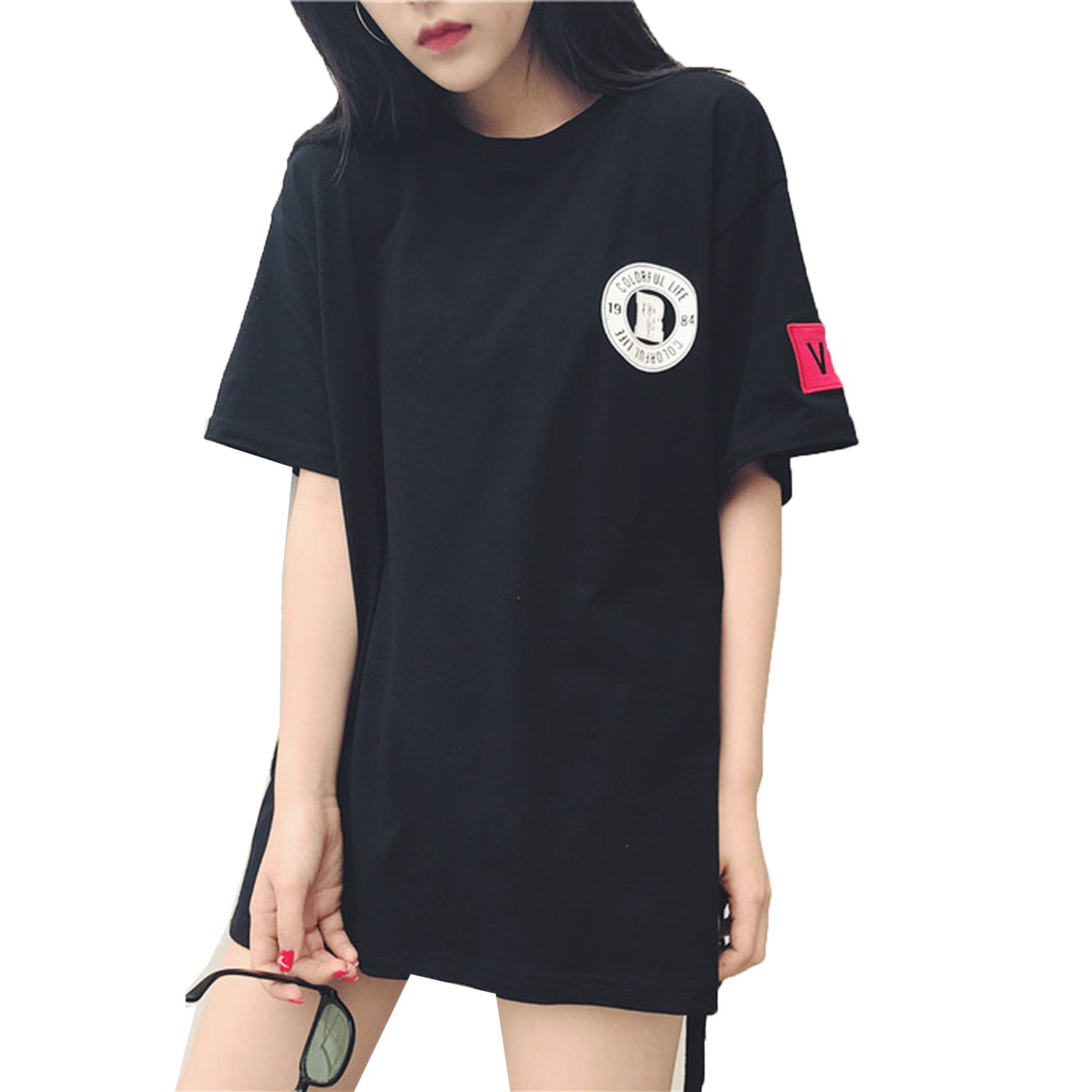 f2dcd950f27322 Oversized t Shirt Harajuku Punk Rock Short Sleeve tee Shirts Women Side  Lace up Korean Style Tops Clothes