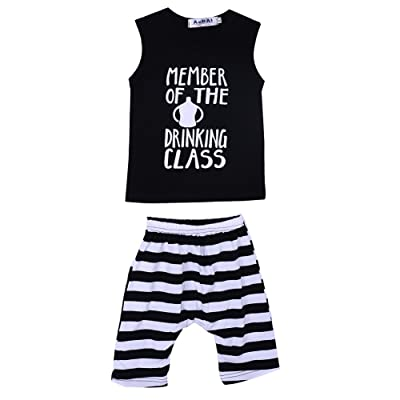AFfeco Baby Boys Baby Girls Bottle Letters Printed T-Shirt +Striped Shorts 2pcs