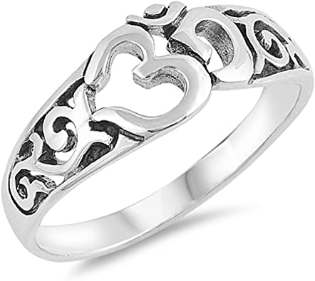CloseoutWarehouse Oxidized Sterling Silver Filigree Band Ring