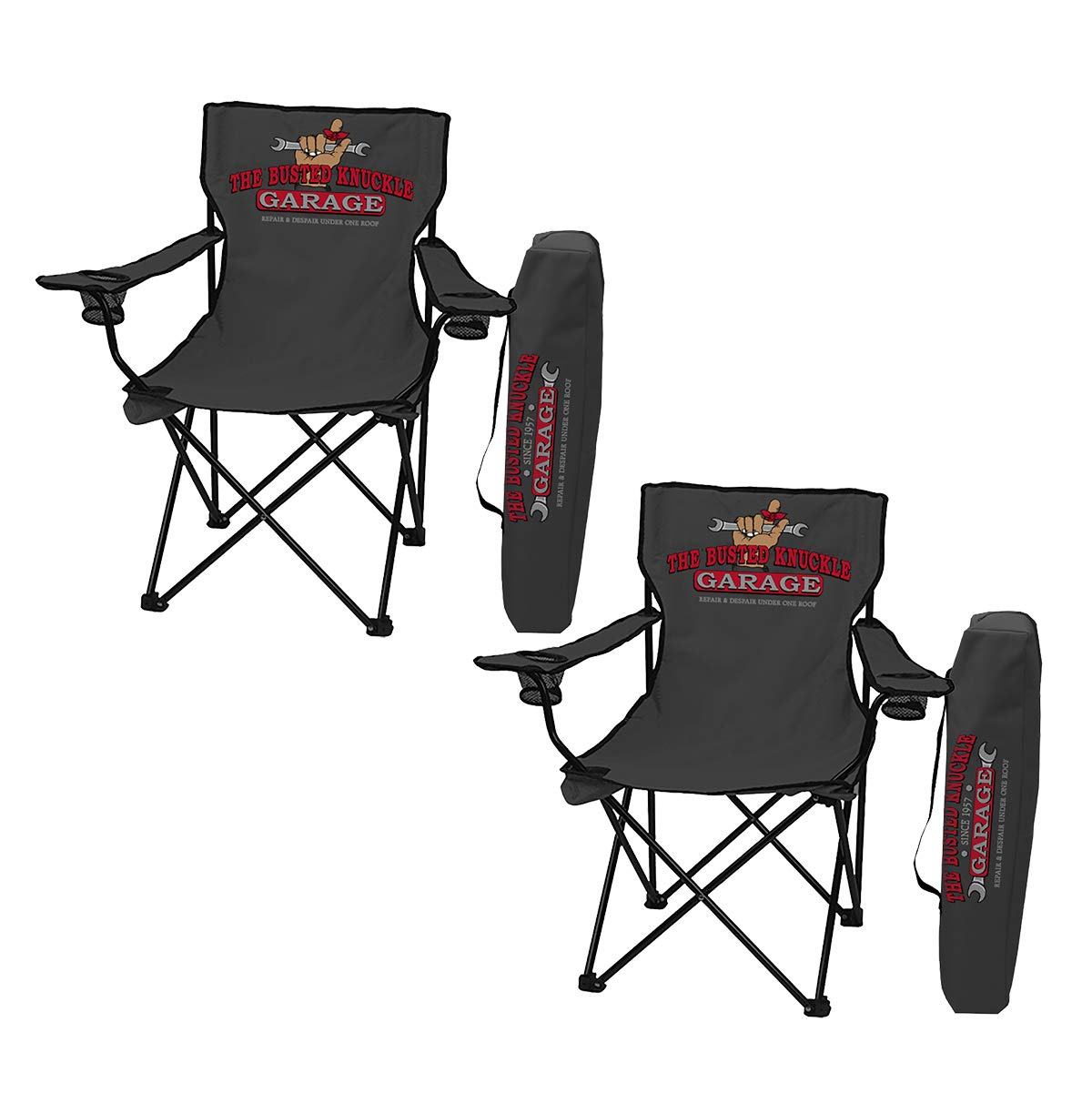Strange Amazon Com Busted Knuckle Garage Set Of 2 Folding Chairs Cjindustries Chair Design For Home Cjindustriesco