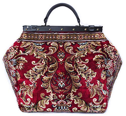 (Large Carpet Bag SAC-VOYAGE Blossom Red - Magical Mary Poppins Vintage-Style Carpet Bag with leather handle.)