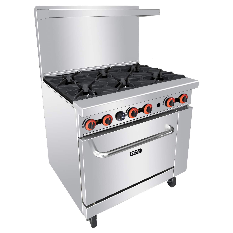 Heavy Duty 36''Gas 6 Burner Range With Standard Oven - Kitma Liquid Propane Cooking Performance Group for Kitchen Restaurant, 165,000 BTU