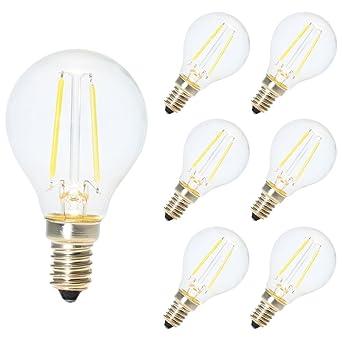 6X E14 Bombillas de Filamento Globo LED G45 E14 2W Blanco frío 6500K Diametro 45MM Equivalencia