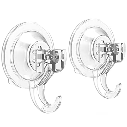 Suction Cup Hooks Quntis Powerful SuperLock Shower Suction Cups (2 Pack)  Heavy Duty Vacuum