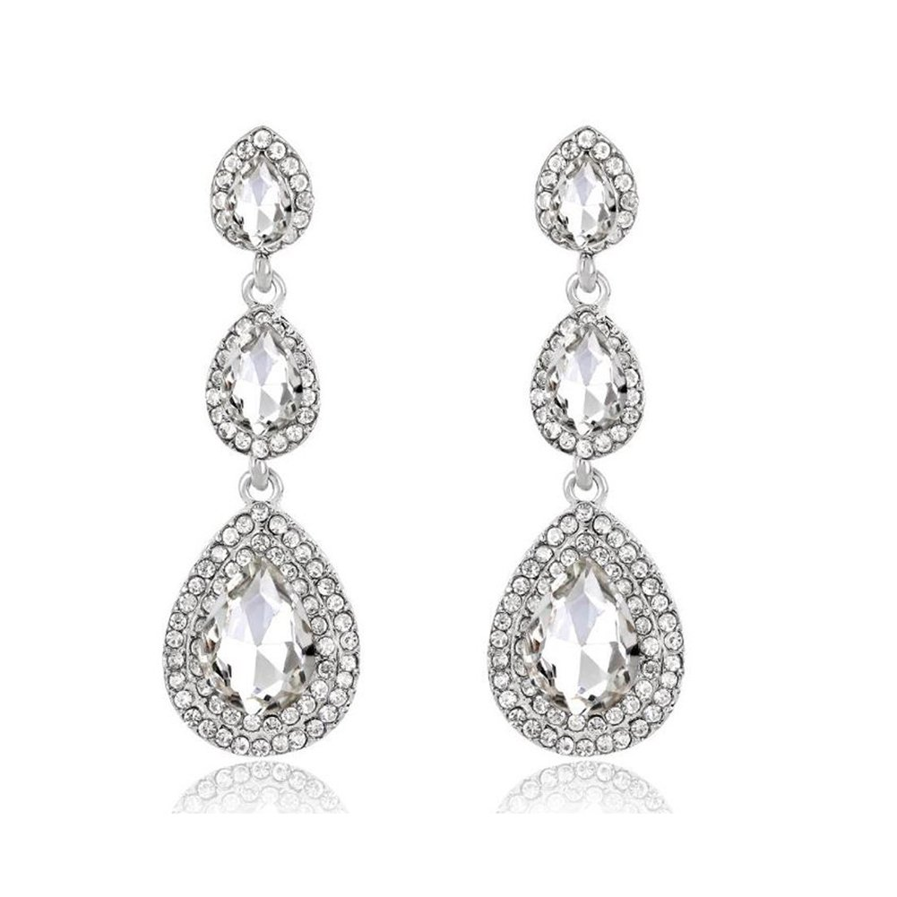 Bridal Austrian Crystal Drop Dangle Earrings Brides Bridesmaid Teardrop Rhinestone Chandelier Earrings