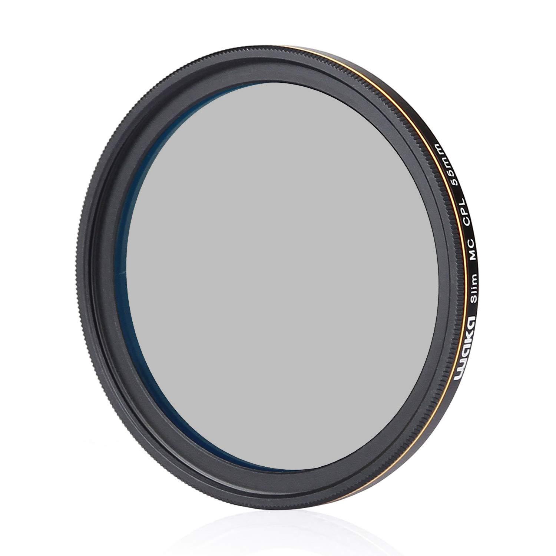 waka 55mm Circular Polarizing Filter, Ultra Slim 16 Layers MRC CPL Glass Polarizer Filter for Canon Nikon Sony DSLR Cameras Lens by waka