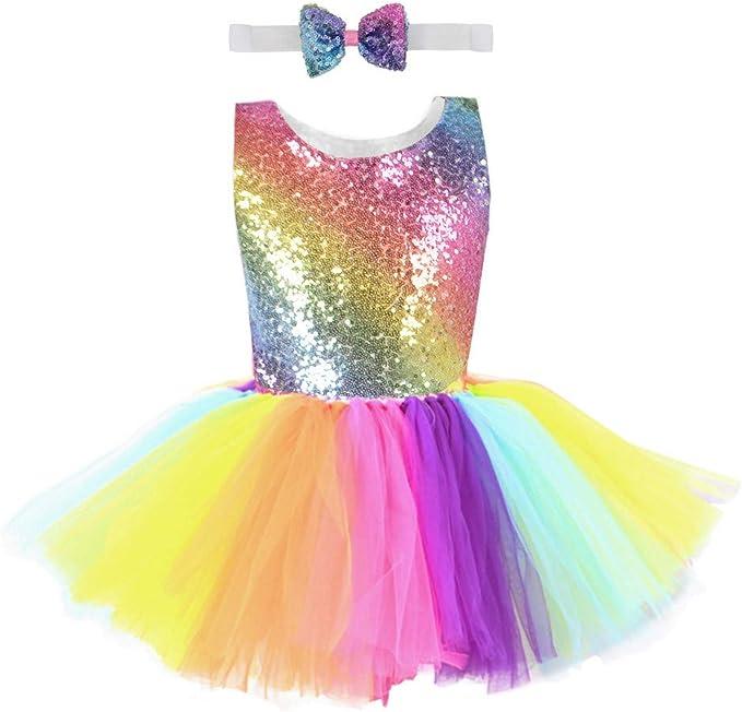 Vestido de Ballet Niña Chica Falda de Tul con Lentejuelas Arcoíris ...