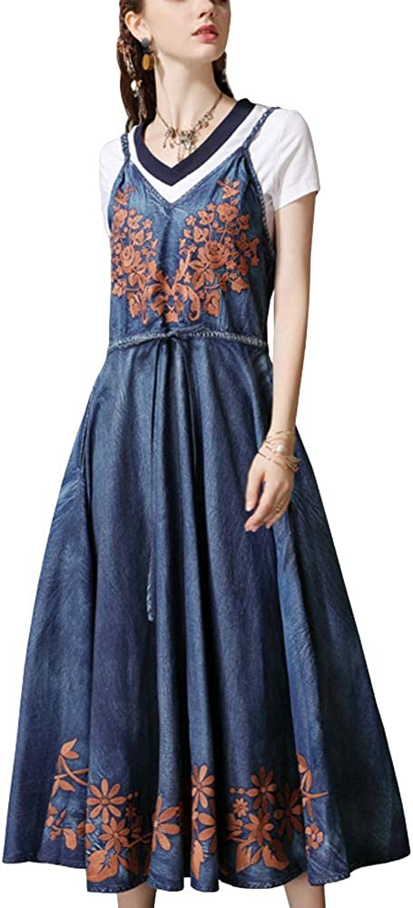 Chowsir Women Vintage Embroidery Spaghetti Strap Denim Jean Dress Long