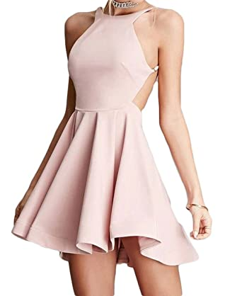 Prom Dress Short A-Line Satin Backless Pink Homecoming Party Dress