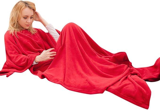 Weant Coperta con Maniche Plaid Caldo Inverno Unisex Uomo Donna Morbida Coperta Plaid in Pile Matrimoniale Una Piazza e Mezza Tinta Unita
