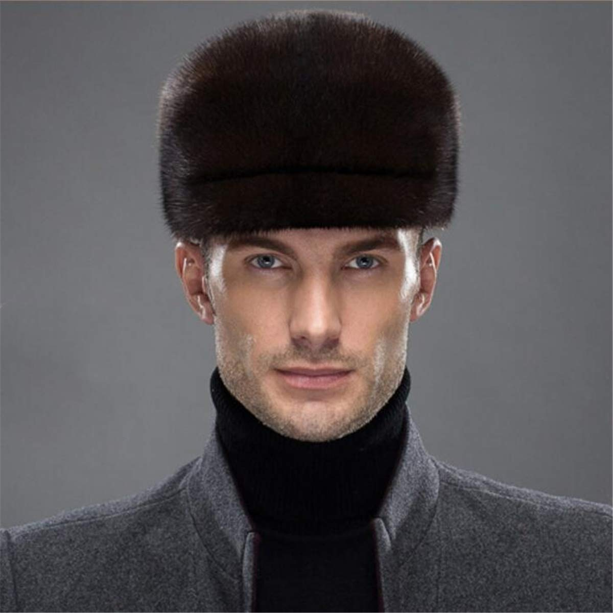 KAISHIN Middle Aged Men Full-pelt Mink Fur Peaked Caps Winter All Match Fur Visors Hats Coffee XL by KAISHIN