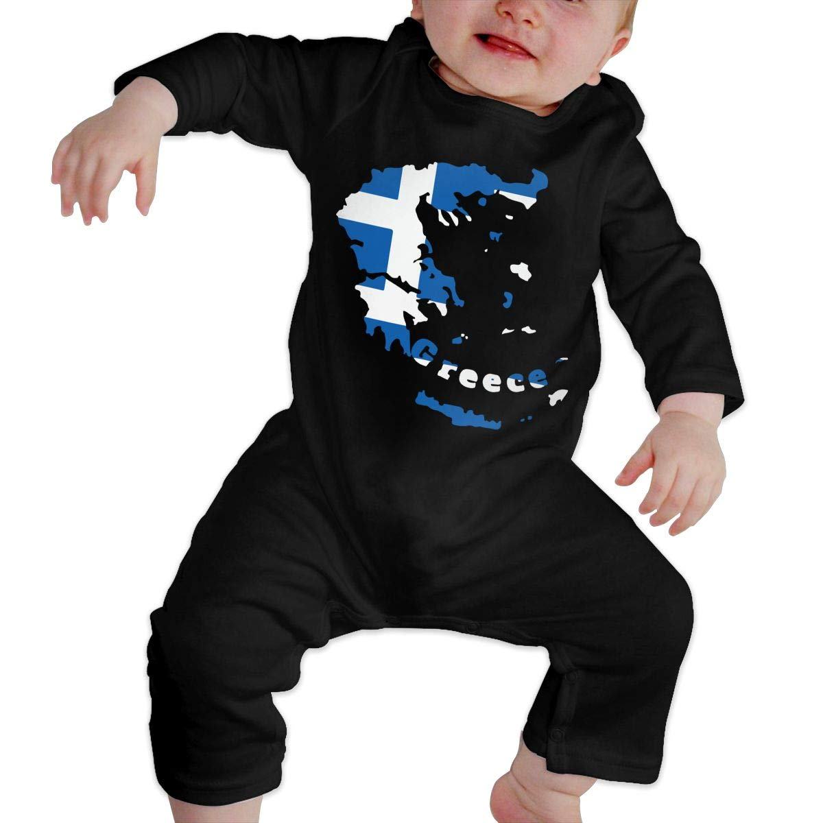 UGFGF-S3 Greece Flag Map Toddler Baby Long Sleeve Romper Jumpsuit Organic Coverall
