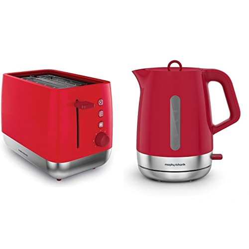 Morphy Richards Poppy Red Kitchen Appliance Set   1.5 Litre Chroma Kettle  And Chroma 2 Slice