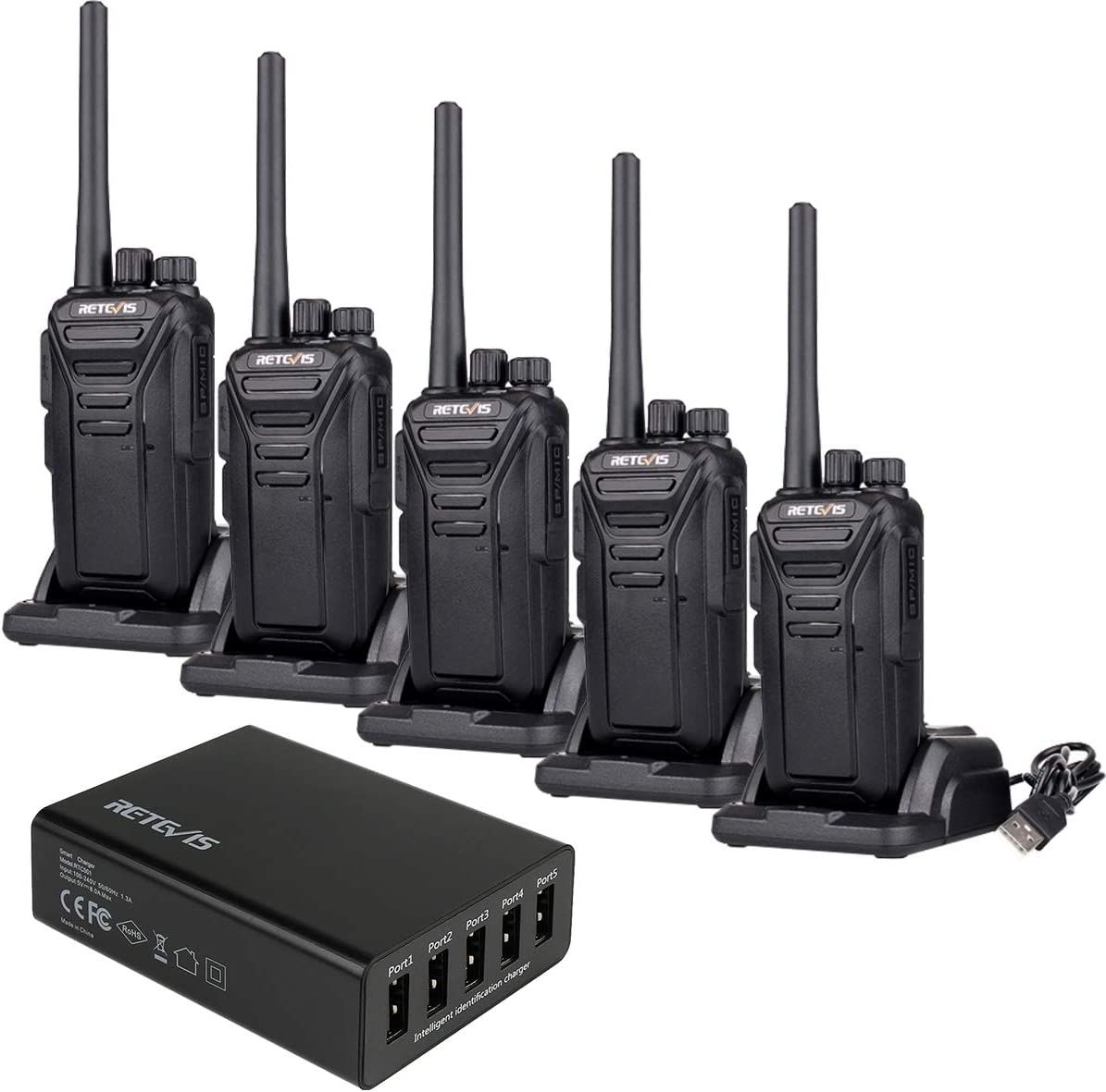 Retevis RT27 2 Way Radio Walkie Talkies Long Range Adult 22 CH VOX Business Rechargeable Two Way Radio with 5 Port USB Charger 5 Pack