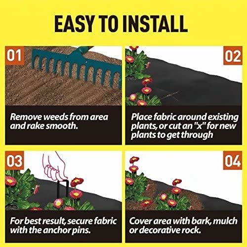 Agfabric Landscape 4x8ft All Purpose Folded Heavy PP Woven Weed Barrier for Spinach,Soil Erosion Control and UV stabilized Plastic Mulch Weed Block 6 Pins Included