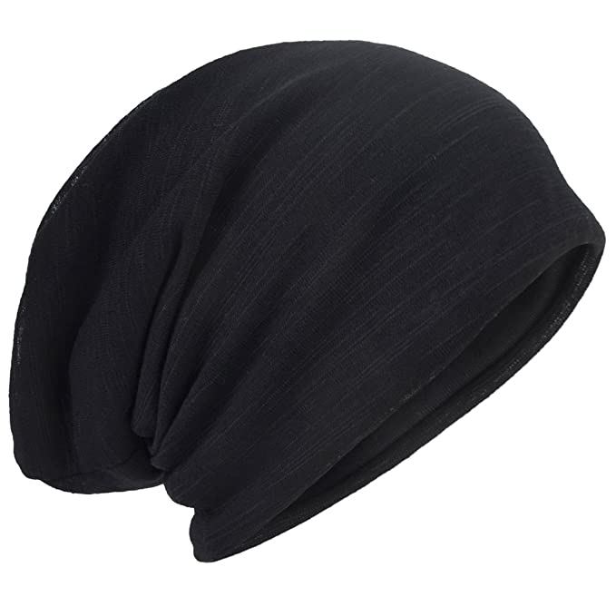 Men Slouch Hollow Beanie Thin Summer Cap Skullcap B011h (Black) at ... dbbde56bb01