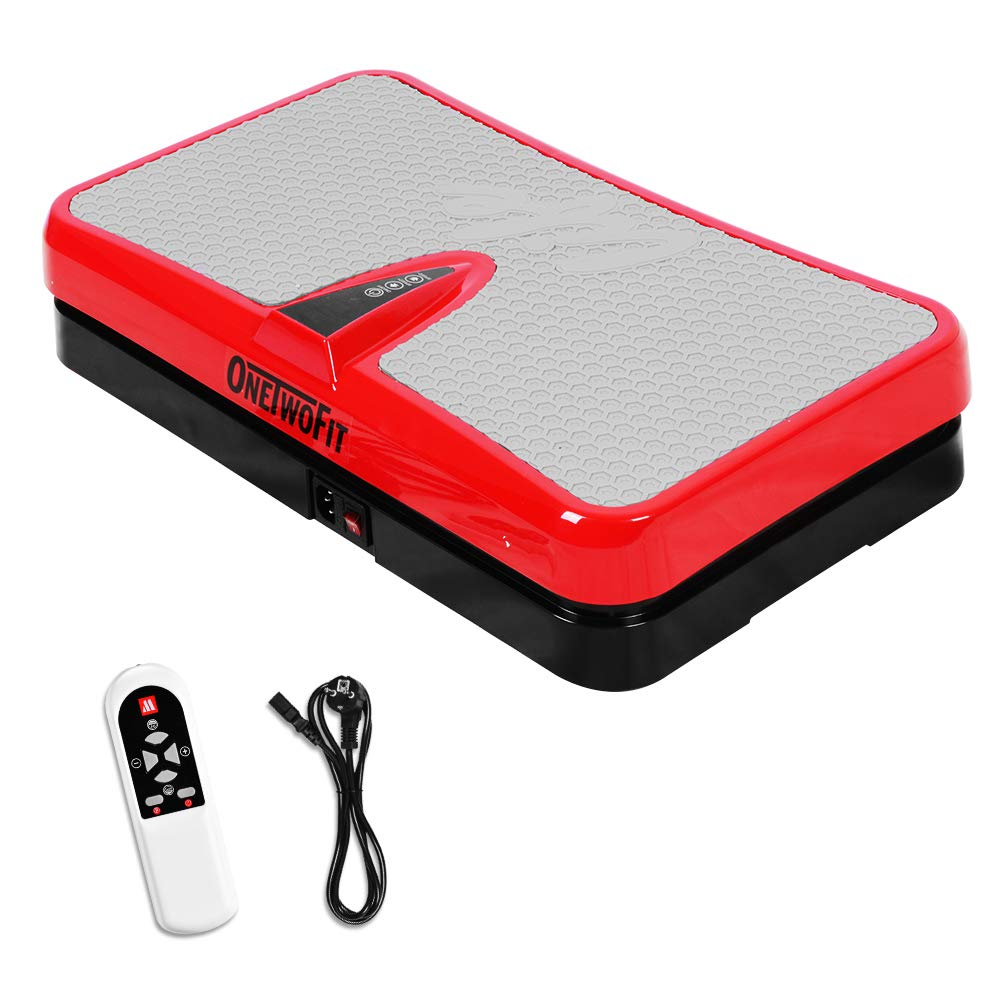 ONETWOFIT Fitness Vibration Platform,Vibration Plate Whole Body Vibration Workout Machine Exercise Equipment Workout Trainer for Home Red OT109US