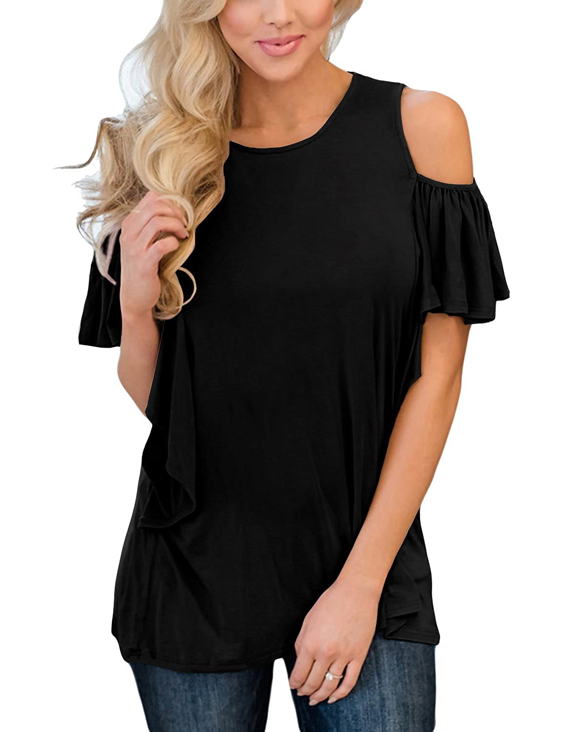 999be67132ab2 Top 10 wholesale Cold Shoulder Ruffle Top - Chinabrands.com