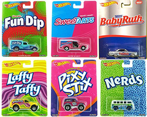 Hot Wheels Pop Culture Willy Wonka 2017 Candy Adventure Mix Nerds Volkswagen Wagon / Sweetarts / Laffy Taffy / Fun DipPixy Stix / Baby Ruth Ford ()