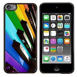EJOOY---Cubierta de la caja de protección para la piel dura ** Apple iPod Touch 6 6th Touch6 ** --Llaves del piano Colorful
