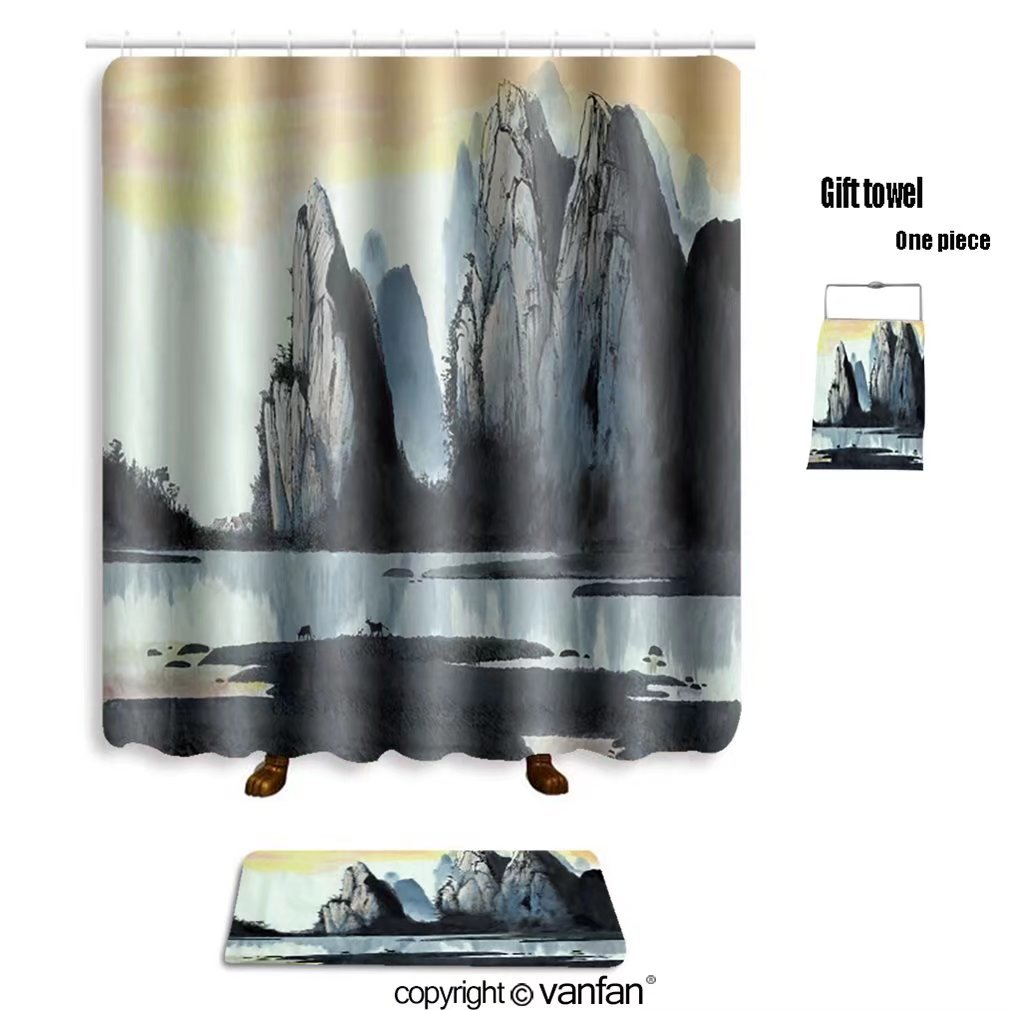 vanfan bath sets with Polyester rugs and shower curtain chinese landscape mountain river and cow 5232 shower curtains sets bathroom 72 x 84 inches&31.5 x 19.7 inches(Free 1 towel and 12 hooks)