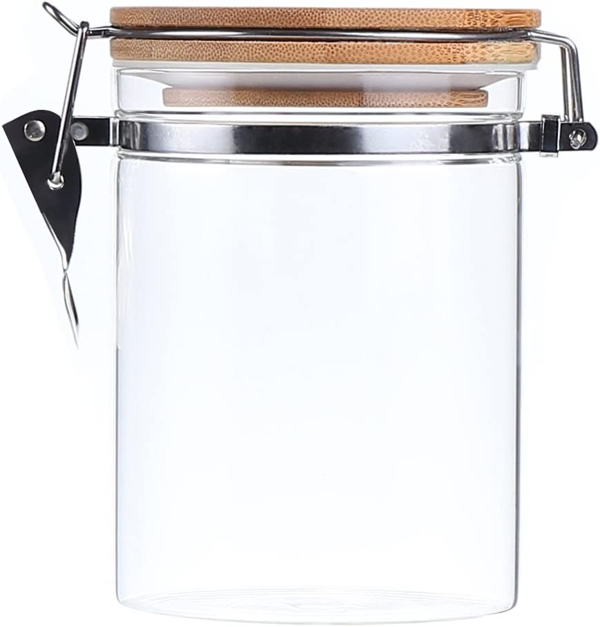 AUYE Glass Storage Jar,Coffee Bean & Kitchen food Container With Clamp Airtight wood Lid (29-Ounce)
