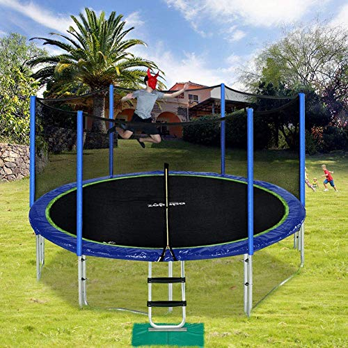 Zupapa 15 14 12 FT TUV Approved Trampoline with Enclosure net and Poles Safety Pad Ladder Jumping Mat Rain Cover, Blue (12)
