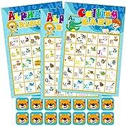 Hohomark Alphabet Bingo Game 26 Players Animal Letter Learning Game for Kids ABC Letter Recognition Bingo Card