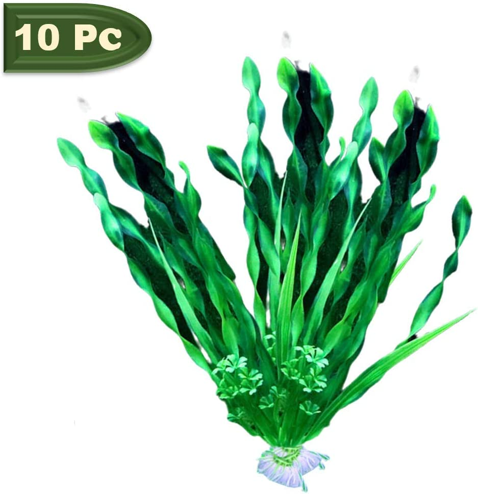 10 Pcs Artificial Seaweed Green Water Plants Plastic Fish Tank Plants Decoration Ornament Safe Aquarium Seaweed Decor for Household and Office (Green)