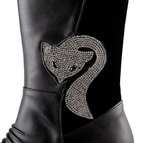 Agoolar Womens Rits Ronde Gesloten Teen Kitten-hakken Blend Materialen Lage Laarzen Zwart