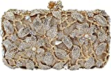 Yilongsheng 2016 New Womens Pearl Flower Designer Clutch Bags with Shiny Crystal Rhinestones (Golden)