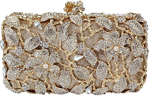 Yilongsheng 2016 New Womens Pearl Flower Designer Clutch Bags with Shiny Crystal Rhinestones (Golden) by YILONGSHENG
